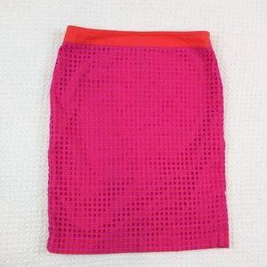Talbots pink neon orange pencil skirt size 8